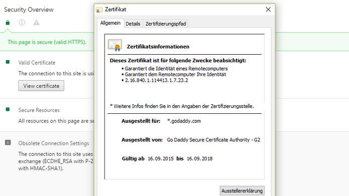 Einige SSL-/TLS-Zertifikate von GoDaddy wegen Software-Bug für ...